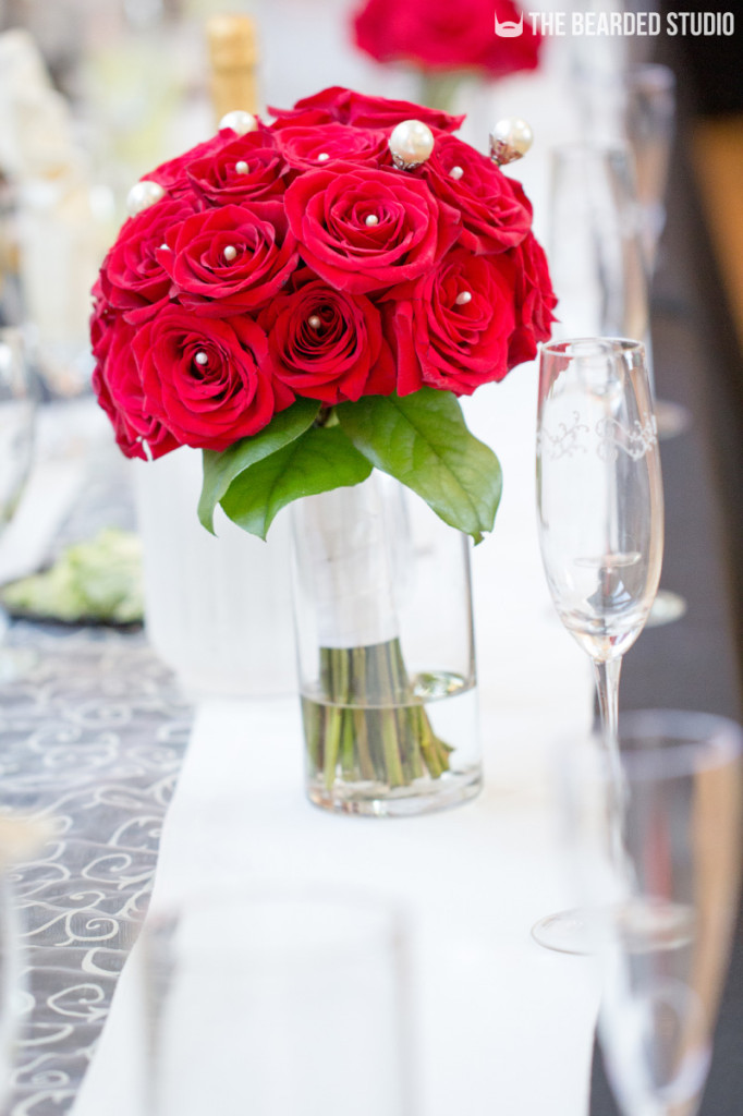 Rose Bouquet On Reception Table