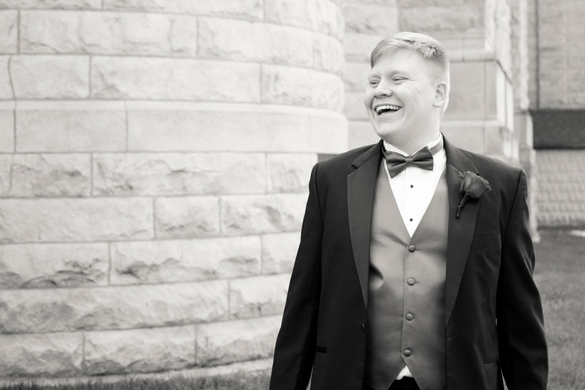 Des Moines Wedding Groom Laughing
