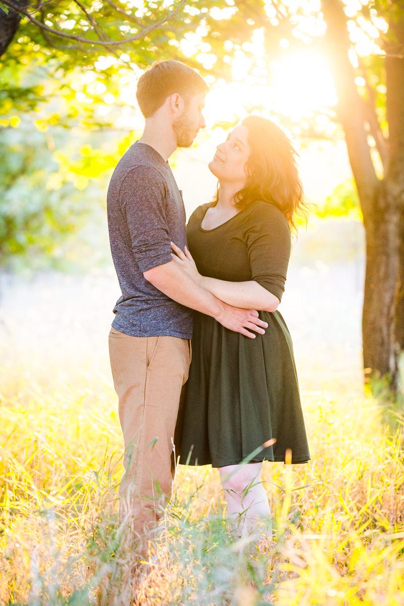 Engagement Photographer Des Moines Sunset Under Trees