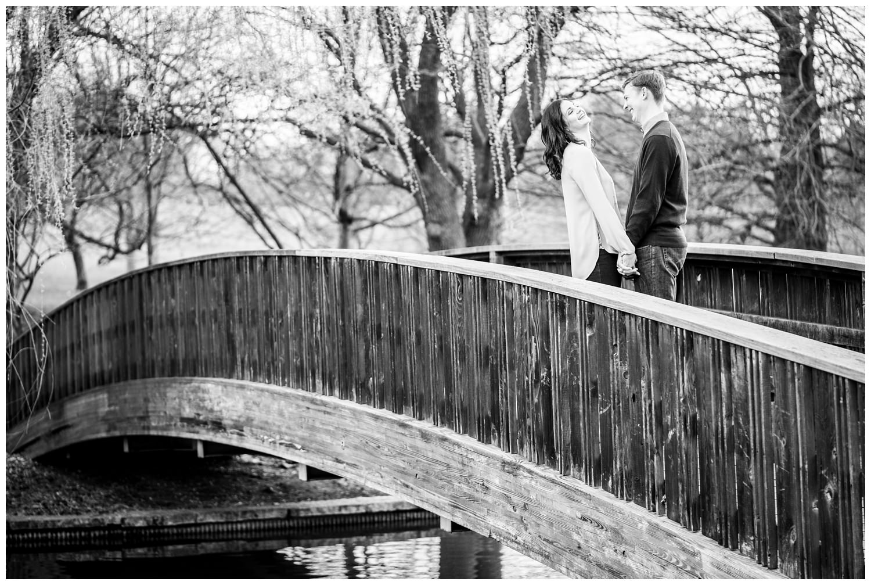 loose park bridge Kansas city engagement photography
