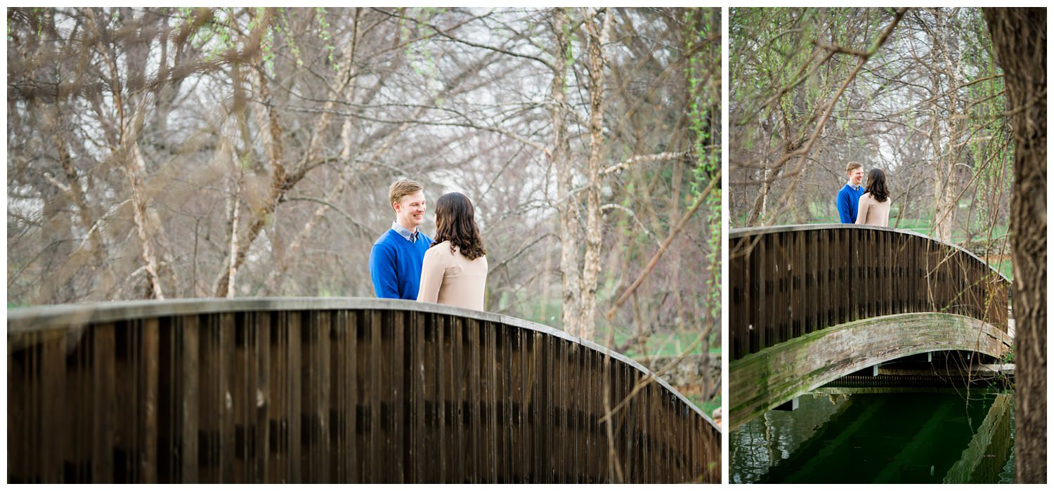 loose park bridge Kansas city engagement photography