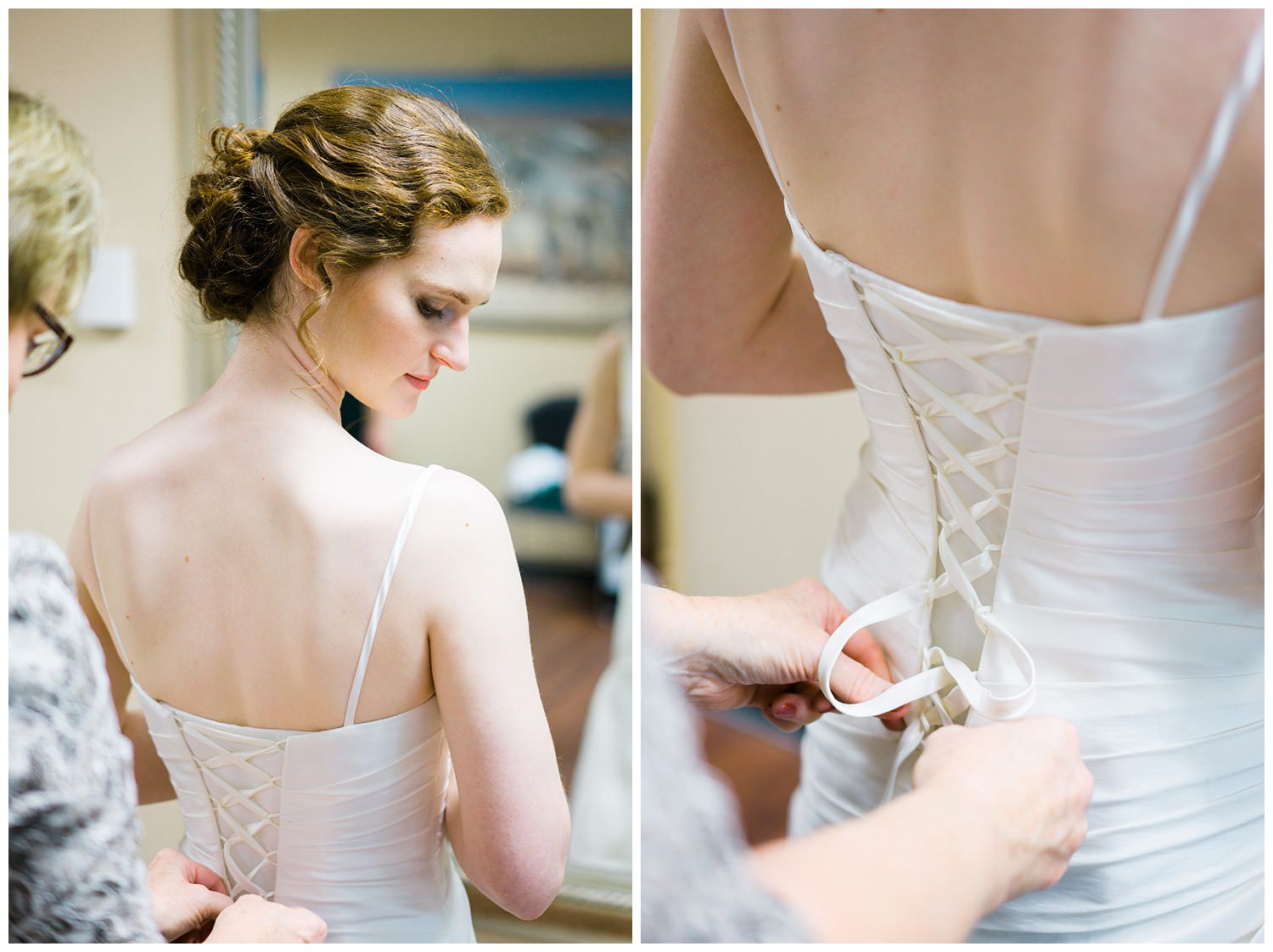bride putting dress on des moines iowa