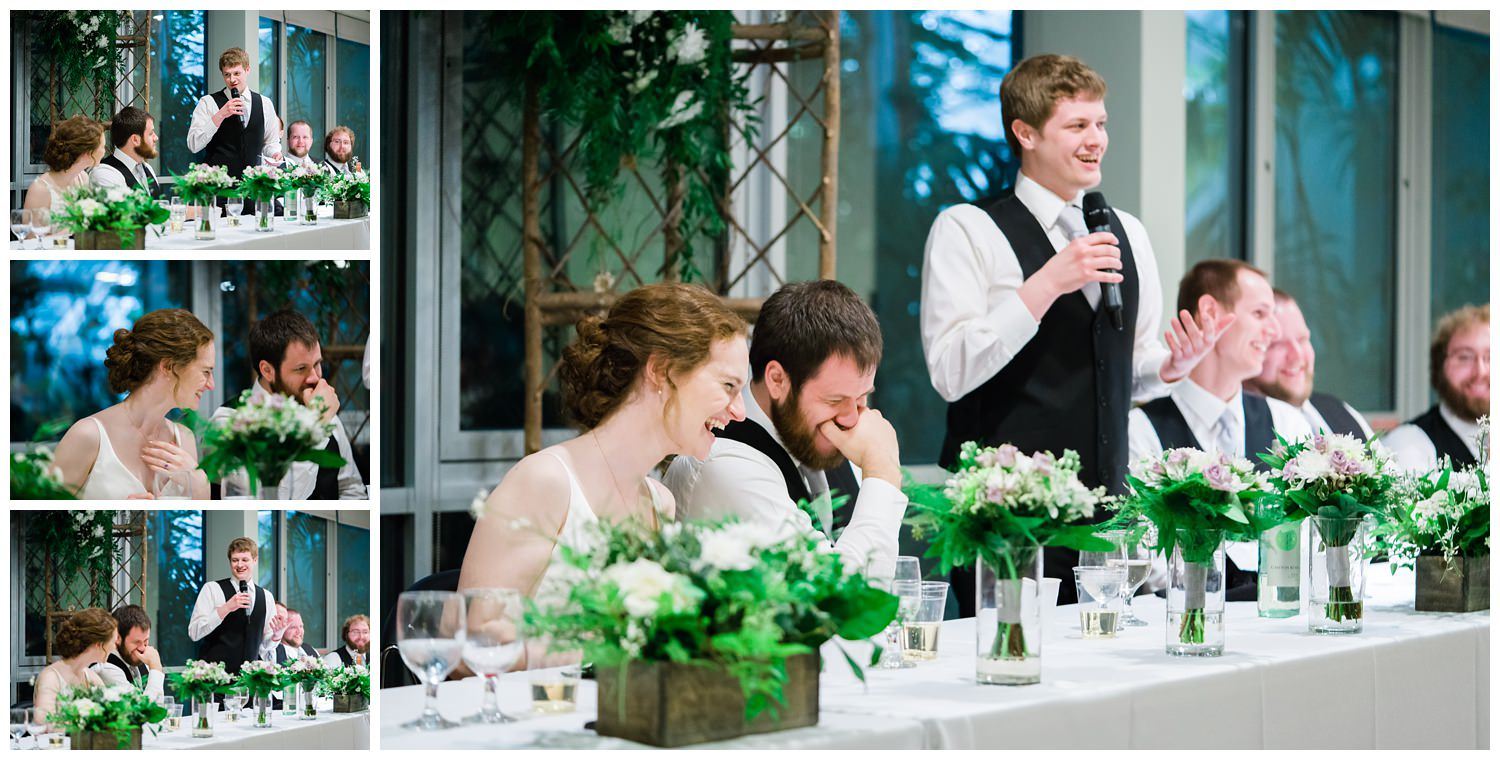 wedding toast laughing