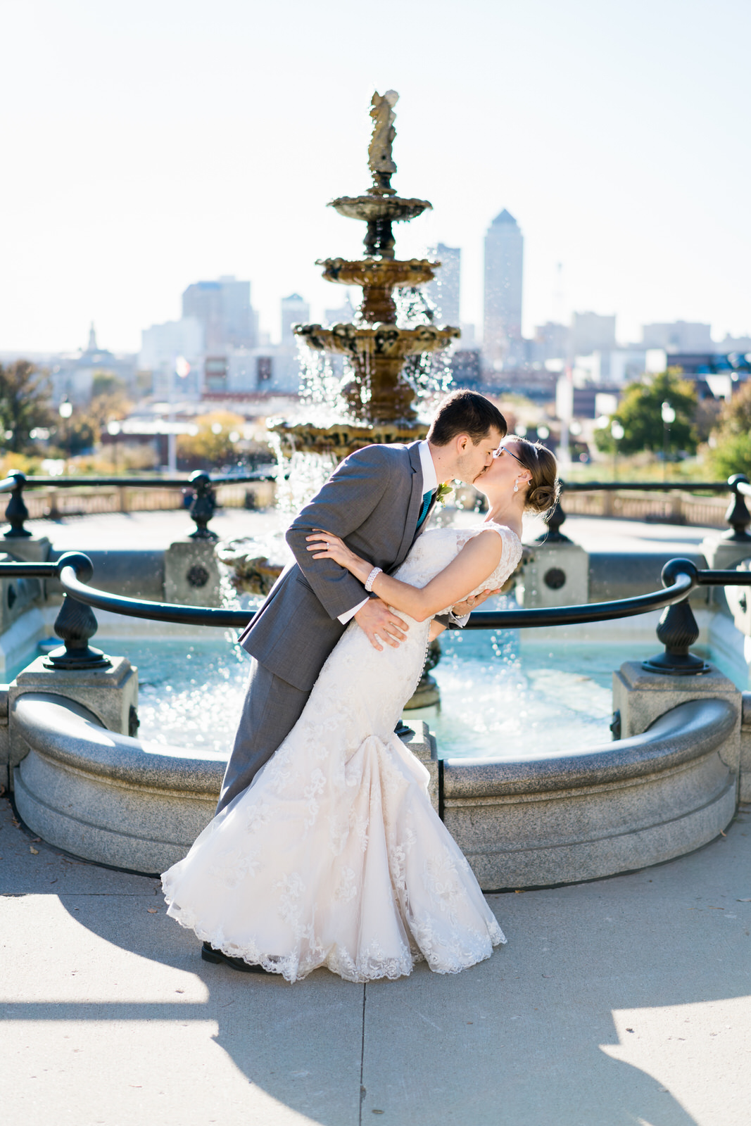 Des Moines Wedding Photographer Bride and Groom Iowa State Capital